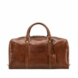 Maxwell Scott Bags Luxury Men S Italian Leather Travel Holdall In Tan