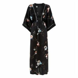 MENG Black Floral Silk Satin Kaftan Dress