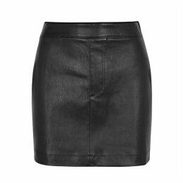 Helmut Lang Black Leather Mini Skirt