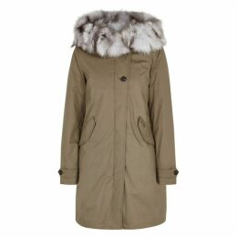 Woolrich Literary Eskimo Taupe Fur-trimmed Parka