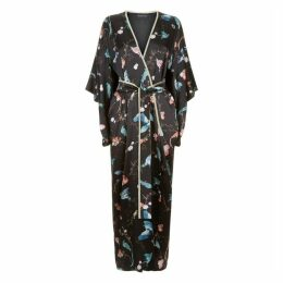 MENG Black Silk Satin Full Length Lined Kimono