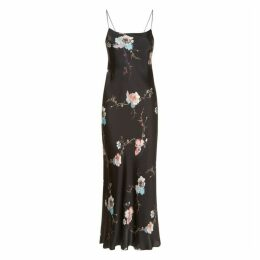 MENG Black Floral Silk Satin Long Slip