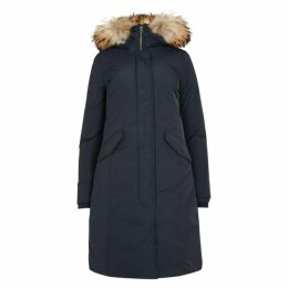 Woolrich Luxury Navy Fur-trimmed Shell Parka