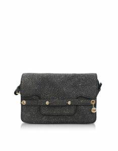 RED Valentino Designer Handbags, Gunmetal Crackled Metallic Leather Flap Top Crossbody Bag