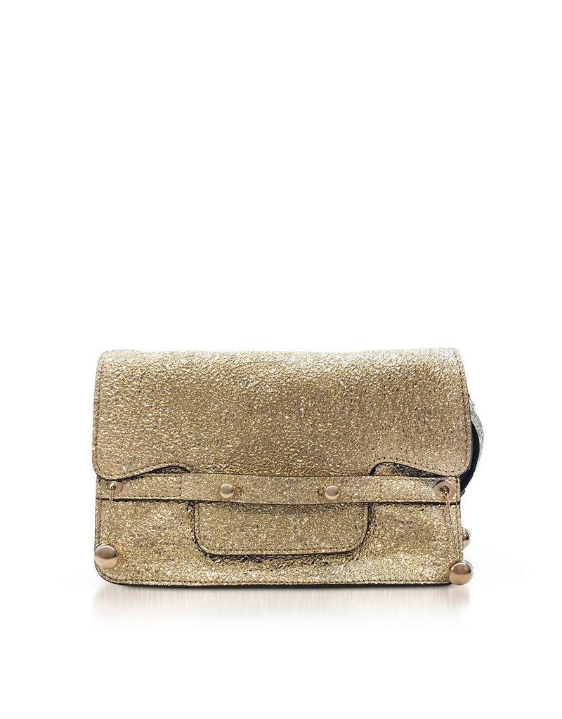 RED Valentino Designer Handbags, Platinum Crackled Metallic Leather Flap Top Crossbody Bag