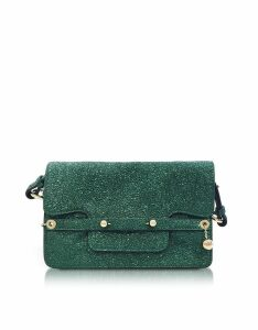 RED Valentino Designer Handbags, Dark Green Crackled Metallic Leather Flap Top Crossbody Bag