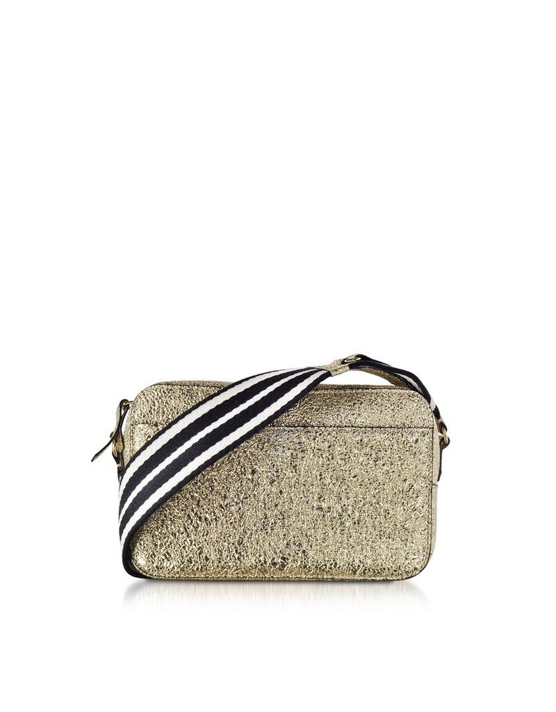 RED Valentino Designer Handbags, Platinum Crackled Metallic Leather Crossbody Bag w/Striped Canvas Strap