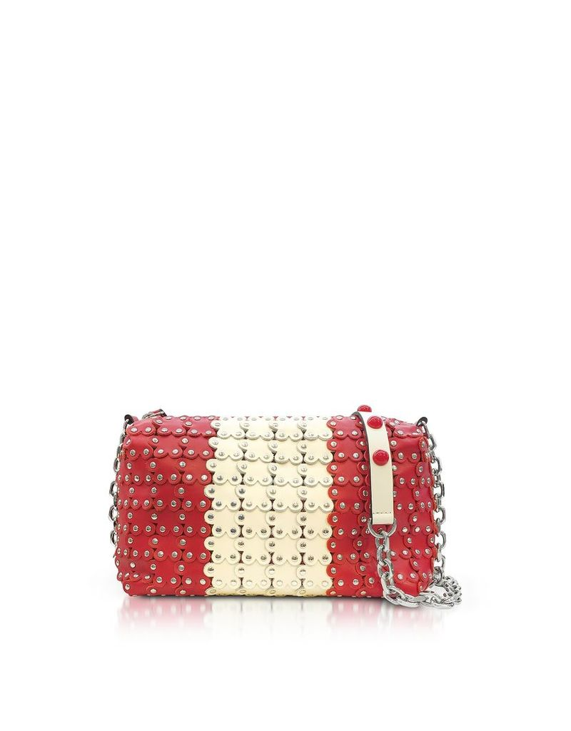 RED Valentino Designer Handbags, Strawberry/Ivory Studded Leather Shoulder Bag