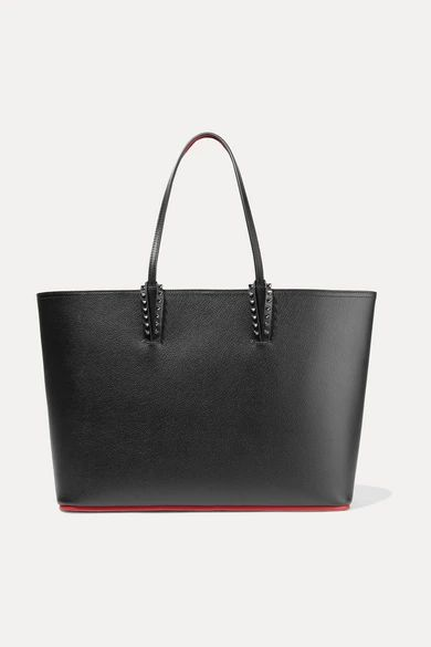 Christian Louboutin - Cabata Spiked Textured-leather Tote - Black
