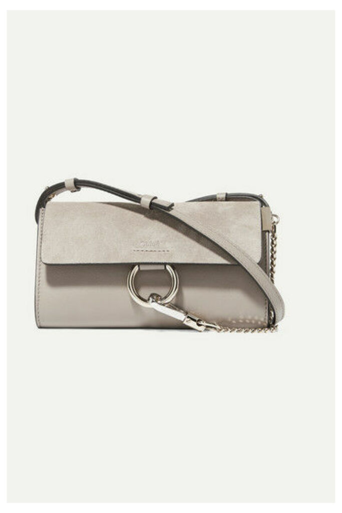 Chloé - Faye Mini Leather And Suede Shoulder Bag - Gray