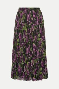 Prada - Pleated Printed Silk-voile Midi Skirt - Purple
