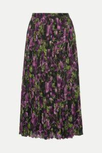 Prada - Pleated Printed Silk-voile Midi Skirt - Purple