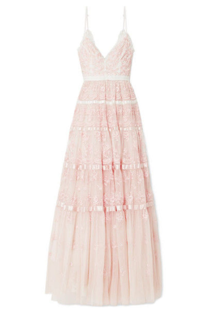 Needle & Thread - Satin-trimmed Embroidered Tulle Gown - Pastel pink