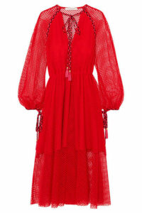 Philosophy di Lorenzo Serafini - Tassel-trimmed Crocheted Lace Dress - Red