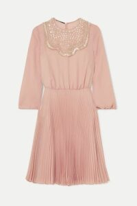 Prada - Embellished Pleated Silk-georgette Midi Dress - Pastel pink