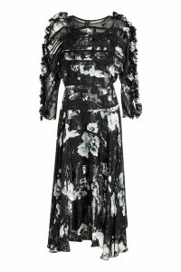 Preen by Thornton Bregazzi Ermin Printed Dress with Silk Chiffon