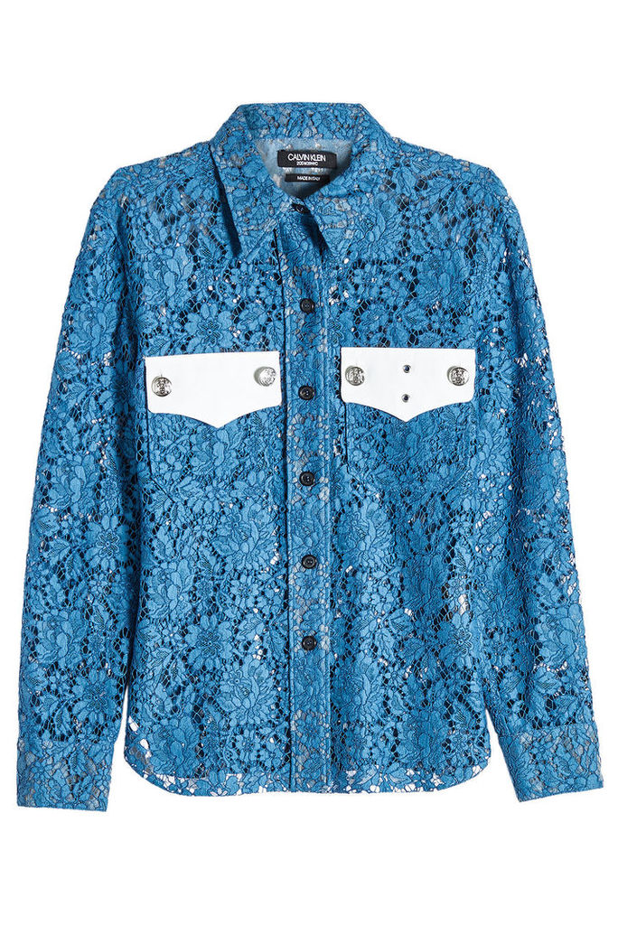 CALVIN KLEIN 205W39NYC Lace Shirt with Embossed Buttons