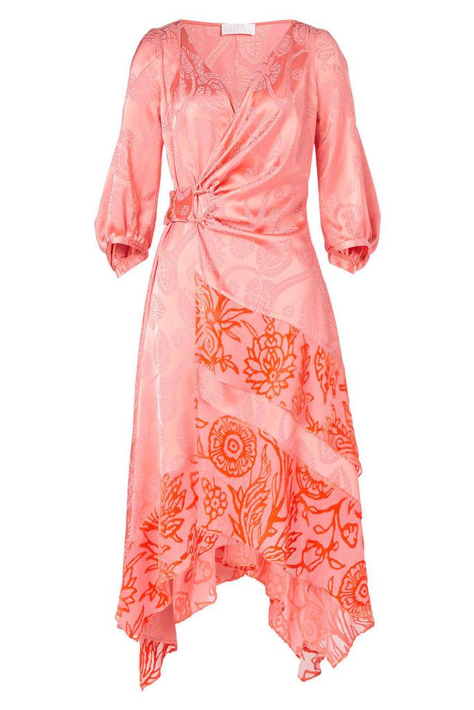 Peter Pilotto Satin Jacquard Wrap Dress with Silk