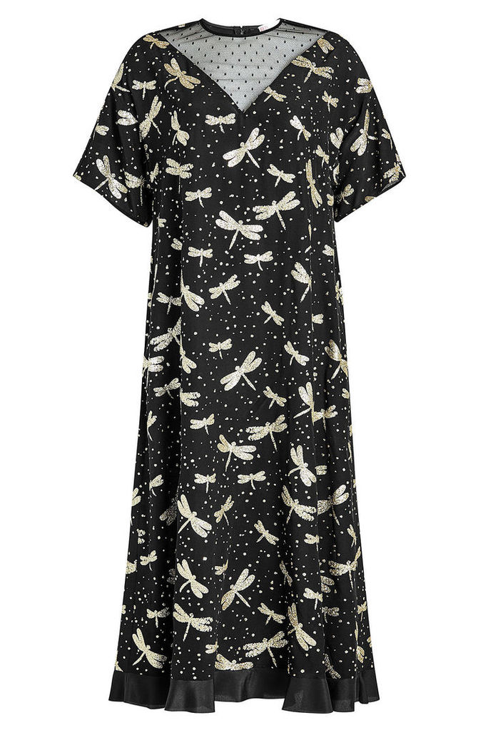 RED Valentino Printed Silk Dress with Point d'Esprit
