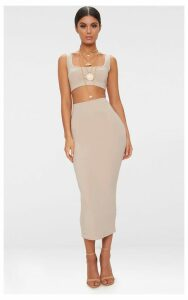 Stone Second Skin Slinky Longline Midaxi Skirt, White