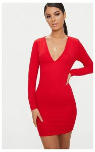 Basic Red Long Sleeve Plunge Bodycon Dress, Red