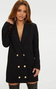 Petite Black Gold Button Blazer Dress, Black