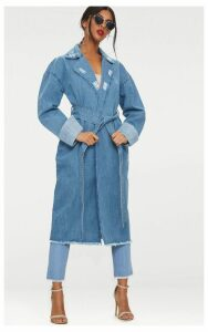 Light Wash Longline Denim Trench Coat, Light Blue Wash