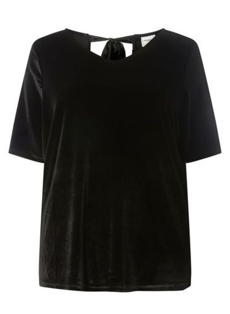 Womens **Juna Rose Curve Black Tie Back Blouse- Black, Black