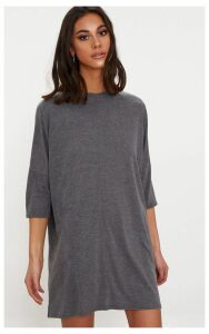 Basic Charcoal Oversized Batwing T-Shirt Dress, Grey