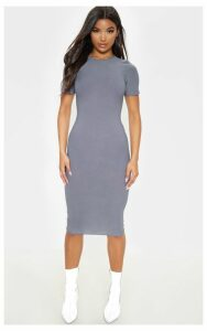 Charcoal Grey Cap Sleeve Midi Dress, Grey