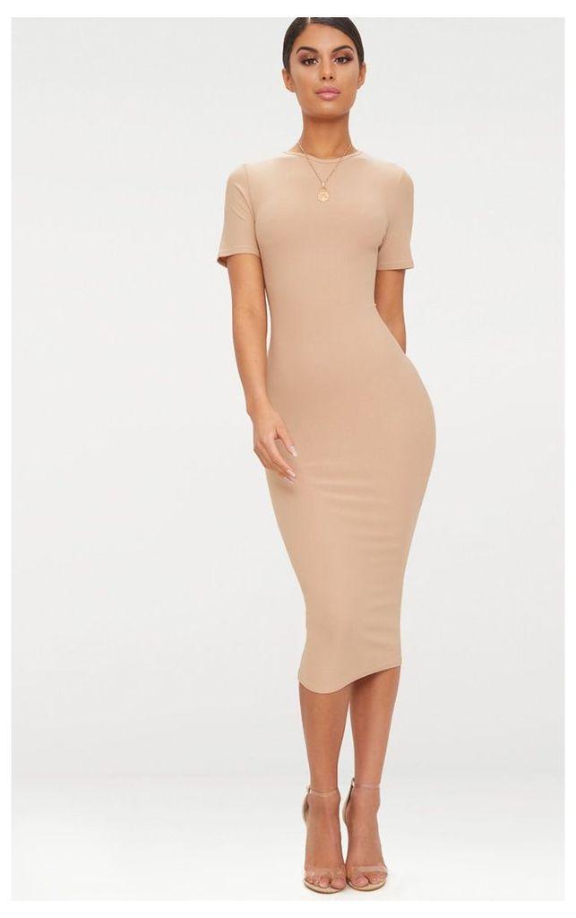 Basic Taupe Cap Sleeve Midi Dress, Brown