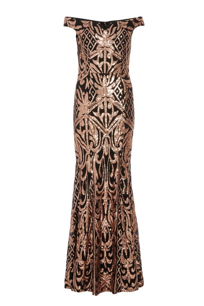 3b2f0ded1063 Quiz Quiz Black And Rose Gold Sequin Bardot Maxi Dress, Black by ...