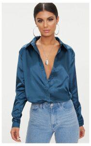 Teal Satin Button Front Shirt, Blue