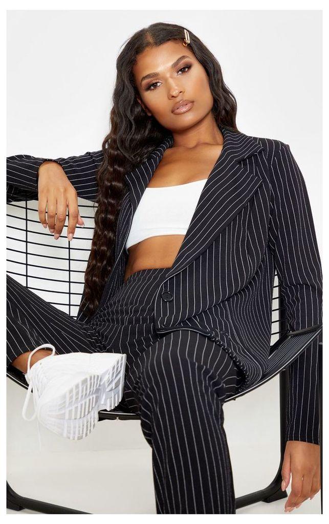 Black Pinstripe Double Breasted Blazer, Black