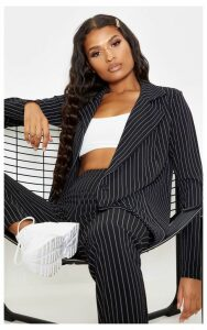 Black Pinstripe Double Breasted Blazer, Black