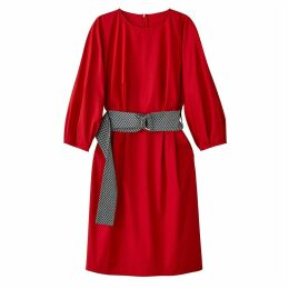 Cotton Dress with Puff Sleeves & Belt