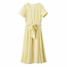 Semi-Transparent Striped Dress with Tie Waist
