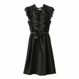 Polka Dot Dress with Ruffles on the Front
