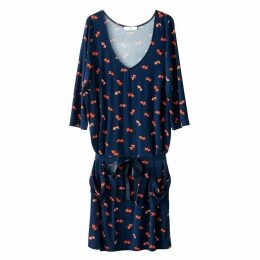 Fish Print Tie Waist Dress