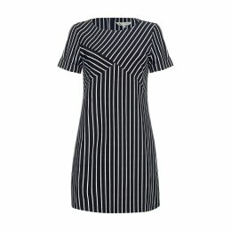Striped Print Short-Sleeved Shift Dress