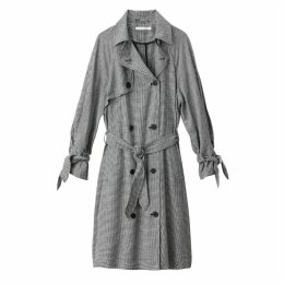 Houndstooth Check Trench Coat
