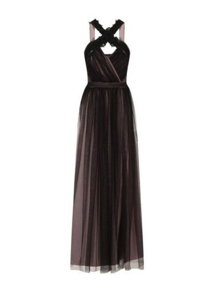 Womens **Little Mistress Black And Mink Maxi Dress- Black, Black