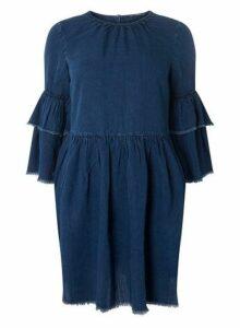 Womens **Only Blue Ruffle Sleeve Skater Dress- Blue, Blue