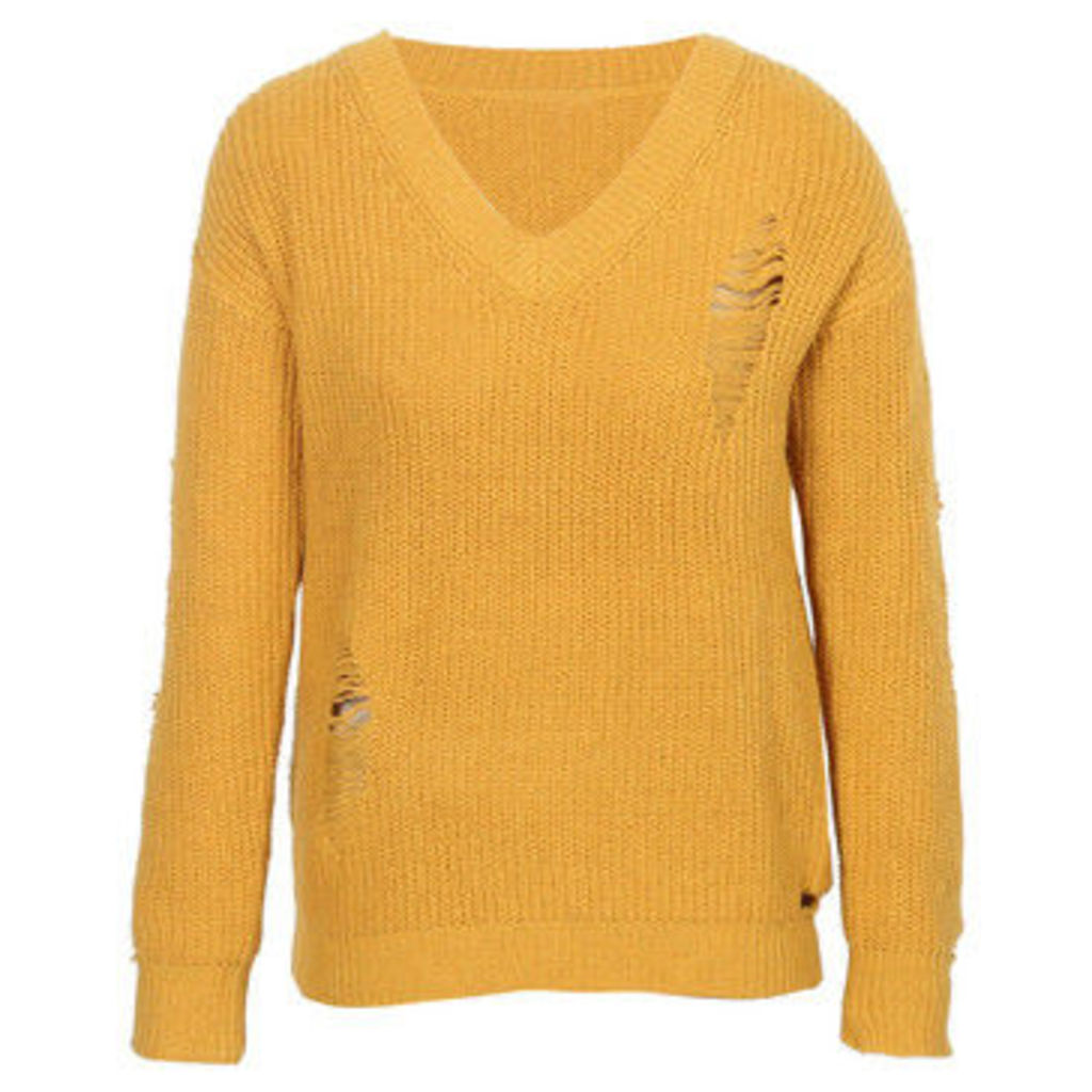 London Rag  Women's Long Sleeve Ribbed Knitted Sweater  women's Sweater in Yellow