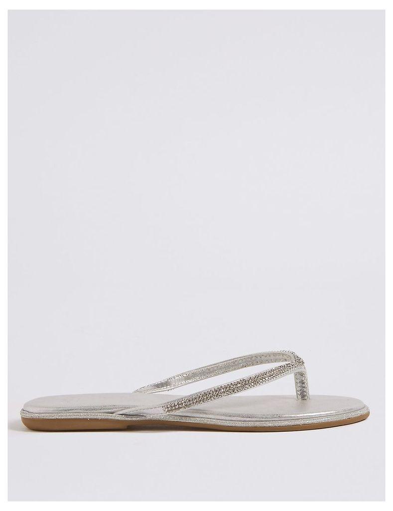 M&S Collection Diamanté Flip-Flops