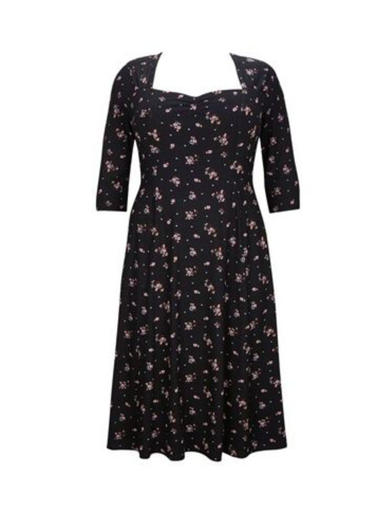 **Scarlett & Jo Black Sweetheart Neck Floral Skater Dress, Others