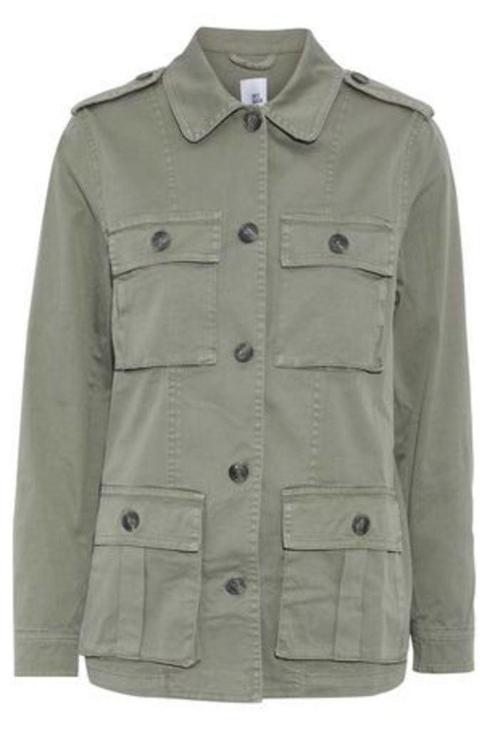 Iris & Ink Woman Cotton-blend Twill Jacket Army Green Size 12