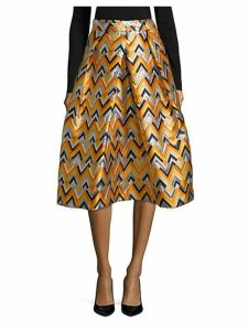 Geometric Pleated Midi Skirt
