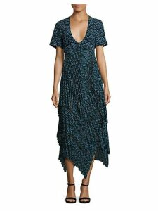 Kylia Plissé Silk Dress