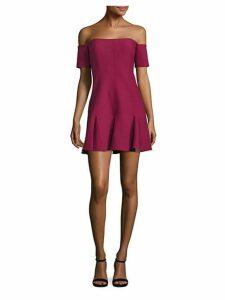 Elva Off-The-Shoulder Godet Mini Dress